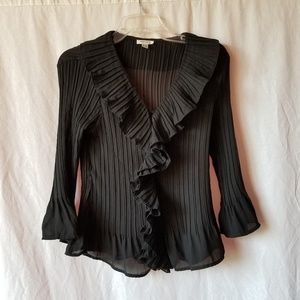 Japur anthropologie black bell sleeve blouse top